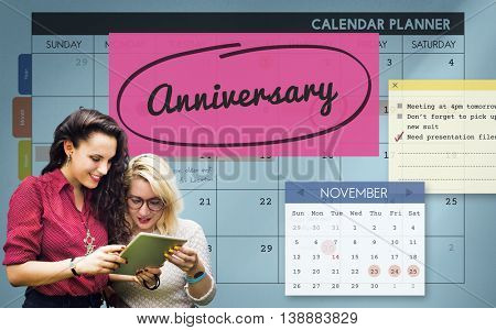 Anniversary Event Appointment Planner Calendar Concept