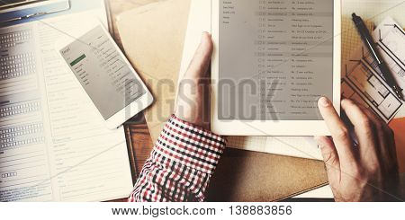 Man Checking Email Messages Concept