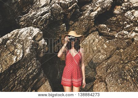 Camera Travel Solitude Tranquil Relaxation Girl Concept