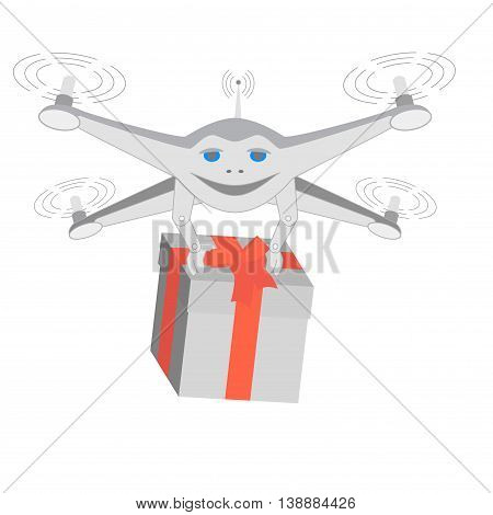 Drone delivers gifts. Insulated. Series cartoon Drones