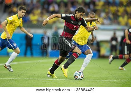 Belo Horizonte Brazil - july 08 2014: Sami KHEDIRA during the FIFA 2014 World Cup. Brazil is facing Germany in the semi-finals at Mineirao Stadium