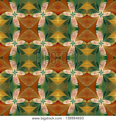 Beautiful symmetrical pattern in stained-glass window style. Green and beige. Artwork for creative design art and entertainment. red and green leaf geometric