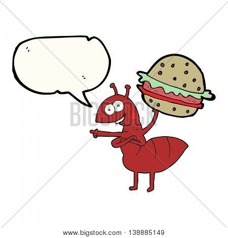 freehand drawn speech bubble cartoon ant carrying food