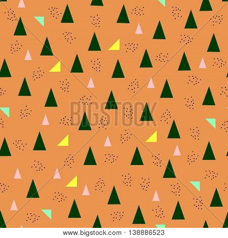 Seamless geometric pattern dots, triangles -vector illustration. Orange background. Modern abstract design cover.