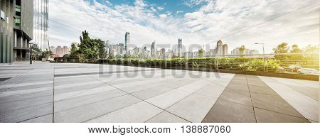 cityscape and skyline of chongqing in cloud sky on view from empty floor