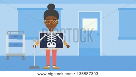An african-american woman with x ray screen showing her skeleton in examination room. Vector flat design illustration. Horizontal layout.