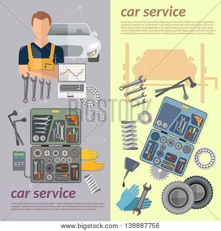 Auto service banner repair tire service oil change auto mechanic vector