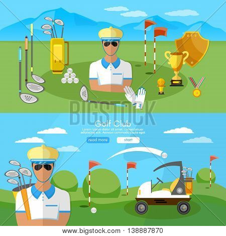 Golf club banner sports equipment for golf sport competitions golfing elements vector illustration