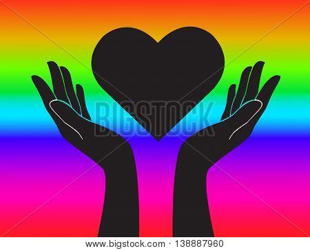 Hand And Heart Rainbow