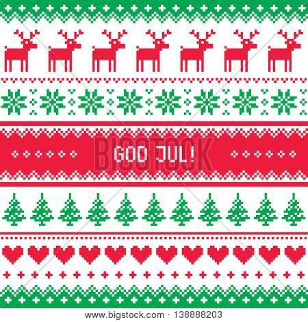 God Jul pattern - Merry Christmas in Swedish, Danish or Norwegian