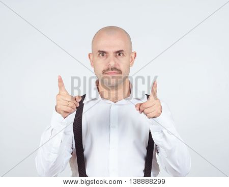 Bald Businessman Pointing At The Camera With.