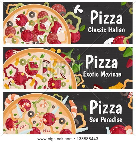 Set Of Banners For Theme Pizza With Different Tastes Flat Design On Chalkboard. Vector Illustration