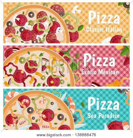 Set Of Banners For Theme Pizza With Different Tastes Flat Design. Vector Illustration