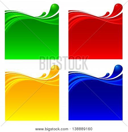 Liquid fluctuation of colour drinks. Vector illustration