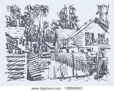 original digital graphic of village composition with houses and trees, freehand sketch vector illustration