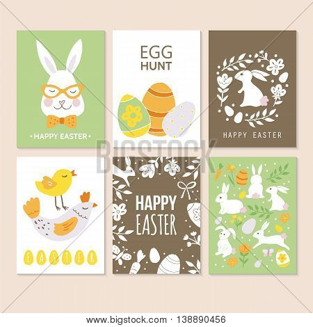 Easter holiday greeting card design. Hand drawing isolated vector illustration