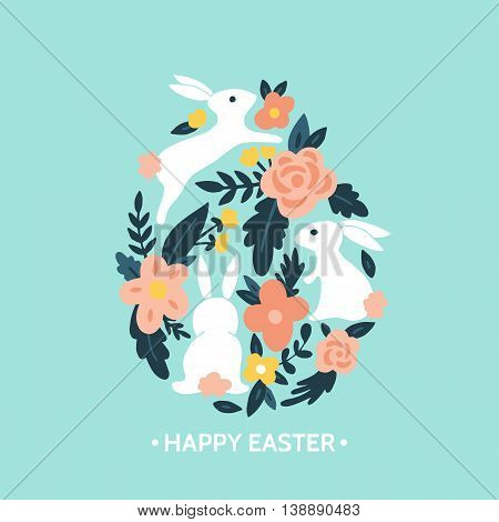 Easter egg design with easter bunny and flowers. Hand drawing vector illustration