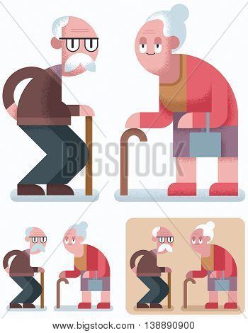 Flat design illustration of elderly couple in 3 color versions.