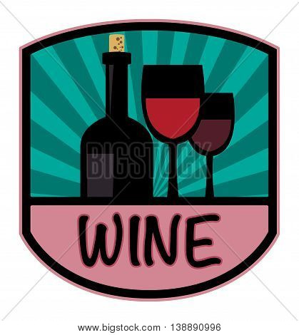 Abstract Wine color label or sign, vector illustration