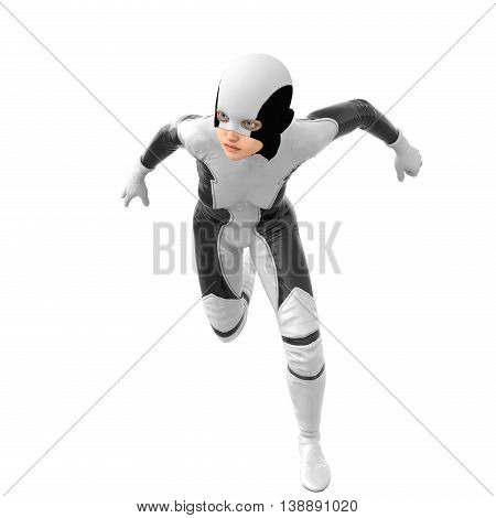 one teenage girl in a white dark super suit. Runs on camera and looking in the direction of. 3D rendering, 3D illustration
