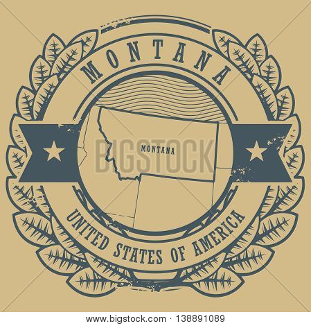 Grunge rubber stamp with name and map of Montana, USA, vector illustration