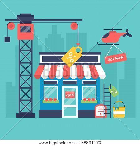 Online shop building maintenance concept. Vector illustration