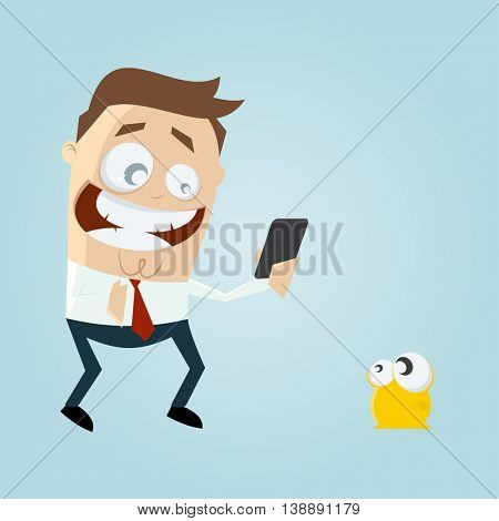 funny man collecting a virtual creature with his smartphone