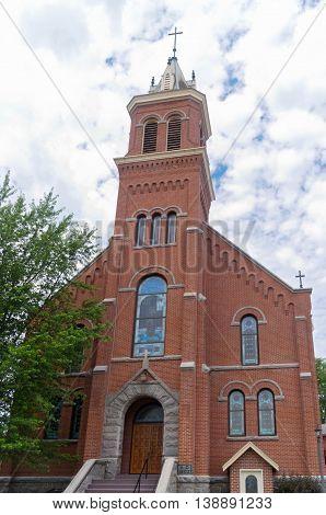 historic landmark red brick church in buckman minnesota