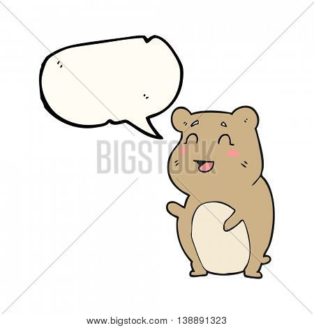 freehand drawn speech bubble cartoon cute hamster