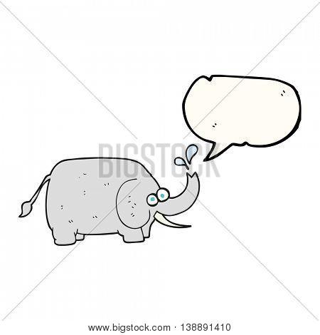 freehand drawn speech bubble cartoon elephant