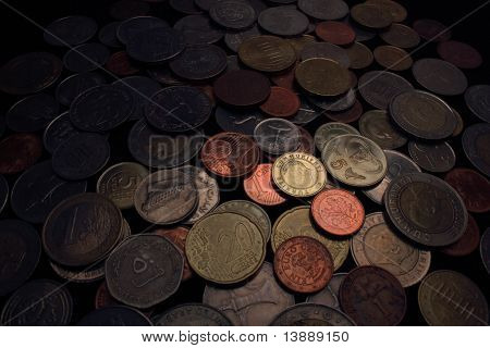 International coins spread out