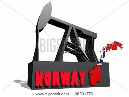Oil pump and Norway map. Energy and power relative backdrop. 3D rendering