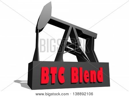 Oil pump and BTC Blend crude oil name. Energy and power relative backdrop. 3D rendering