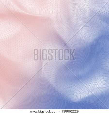 Abstract 3D pale 2016 Pantone color mix (Rose Quartz and Serenity) gradient net cloth background