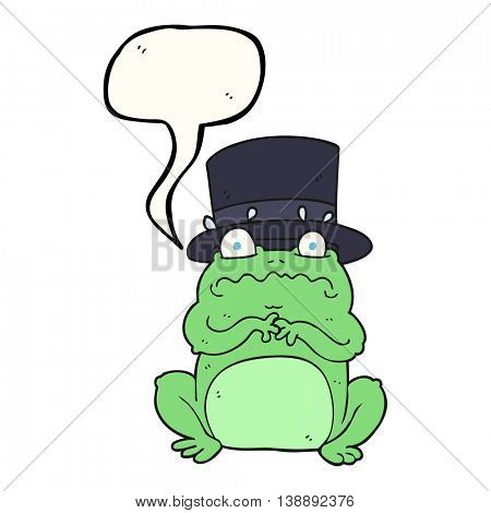 freehand drawn speech bubble cartoon wealthy toad