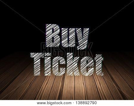 Vacation concept: Glowing text Buy Ticket in grunge dark room with Wooden Floor, black background