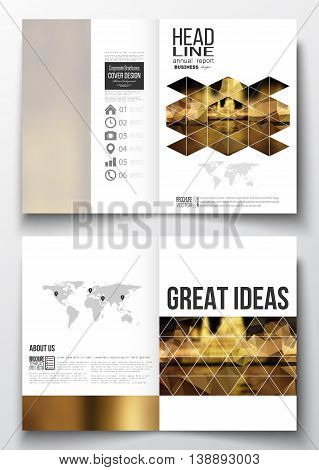 Set of business templates for brochure, magazine, flyer, booklet or annual report. Colorful polygonal background, blurred image, night city landscape, triangular vector texture.