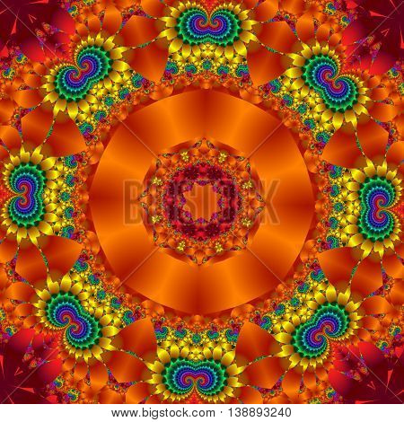 Colorful abstract background with floral circle ornament. You can use it for invitations notebook covers phone cases postcards cards ceramics carpets and so on. Artwork for creative design. orange