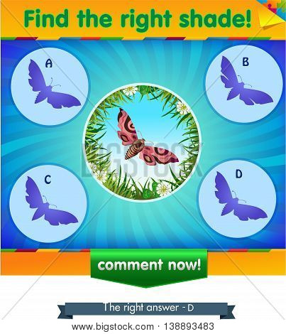 visual game for children and adults. Task the find right shadow butterfly