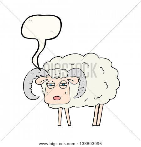 freehand drawn speech bubble cartoon ram