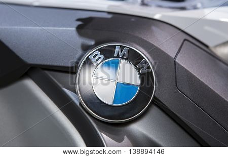 Bangkok - March 22 : logo BMW on big bike BMW series R1200 - in display at The 37th Bangkok international Motor Show 2016 on March 22 2016 in Bangkok Thailand