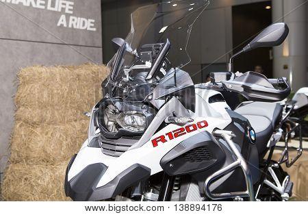 Bangkok - March 22 : white big bike BMW series R1200 - in display at The 37th Bangkok international Motor Show 2016 on March 22 2016 in Bangkok Thailand