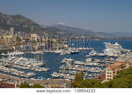 View Of Harbor, Yachts And Residential Areas In Monte Carlo Monaco