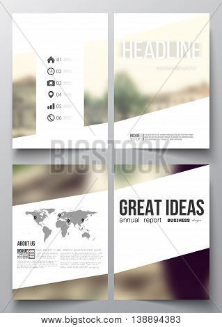 Set of business templates for brochure, magazine, flyer, booklet or annual report. Blurred image. Modern triangular vector texture.