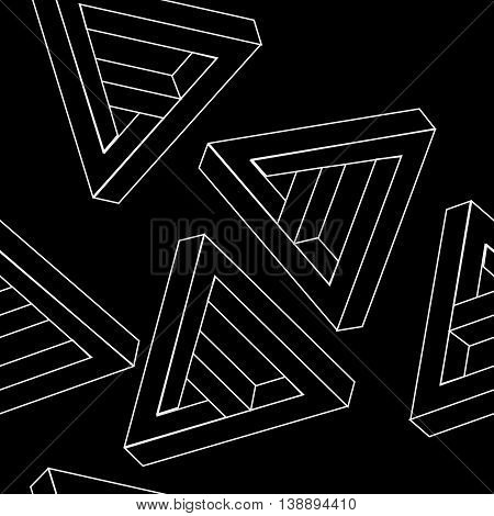 Pattern geometric seamless simple monochrome minimalistic pattern of impossible shapes, triangles