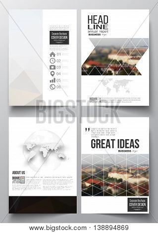 Set of business templates for brochure, magazine, flyer, booklet or annual report. Polygonal background, blurred image, urban landscape, cityscape of Prague, modern triangular texture.