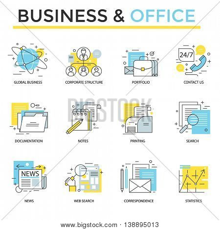Office and business icons, thin line flat design