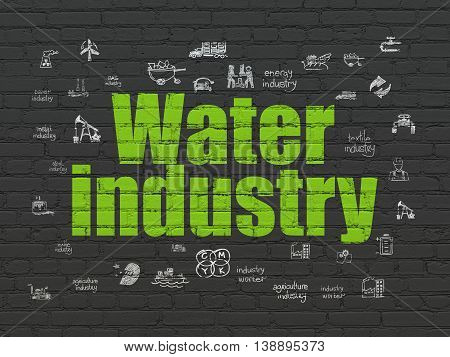 Industry concept: Painted green text Water Industry on Black Brick wall background with  Hand Drawn Industry Icons