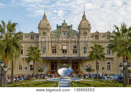 MONTE CARLO MONACO - OCTOBER 2 2010: People Gathering in Front of the World Famous Grand Casino of Monte Carlo in Monaco.