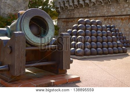 Pyramids of Cannonballs and Cannon near Prince Palace in Monaco.